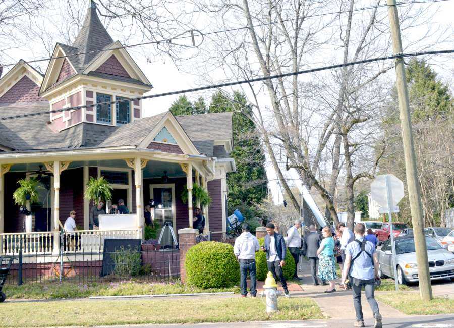 two productions filming in downtown newnan wednesday the