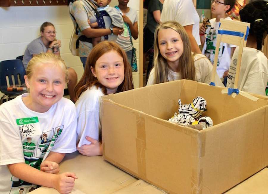Elementary school students learn about technology at Camp Invention