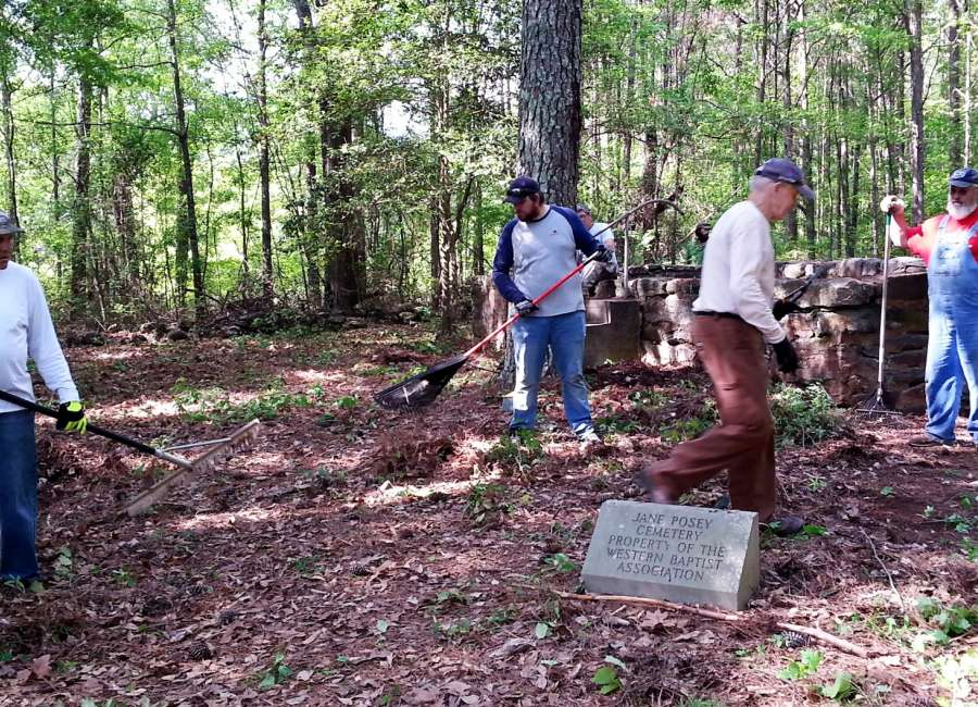 Real Life members clean up Posey Cemetery
