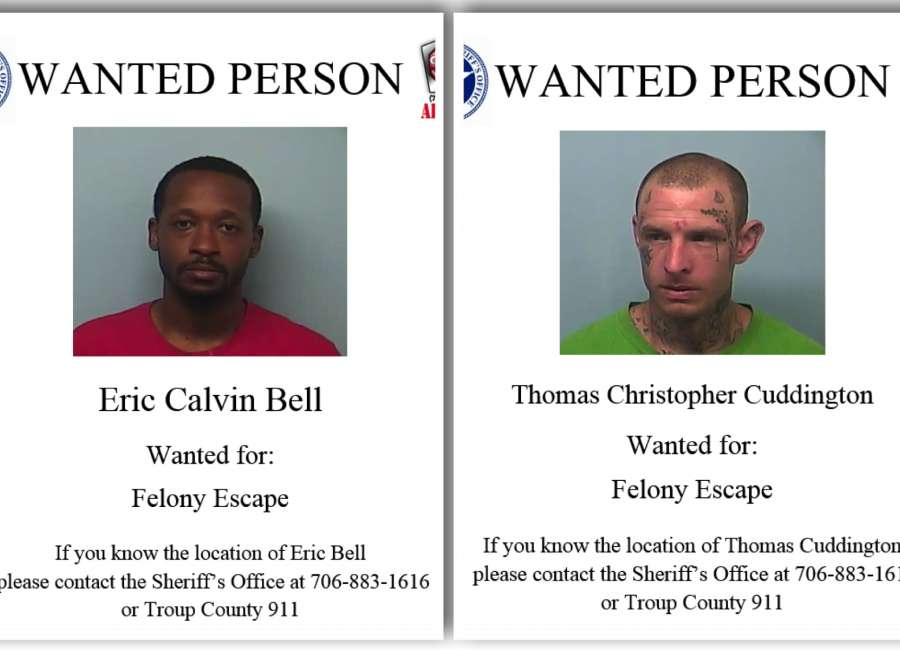 Two inmates on the run after escaping Troup County Jail