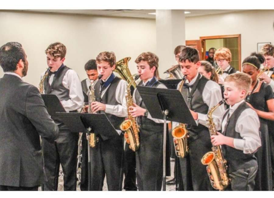 Smokey Road Jazz Band performs for board of education