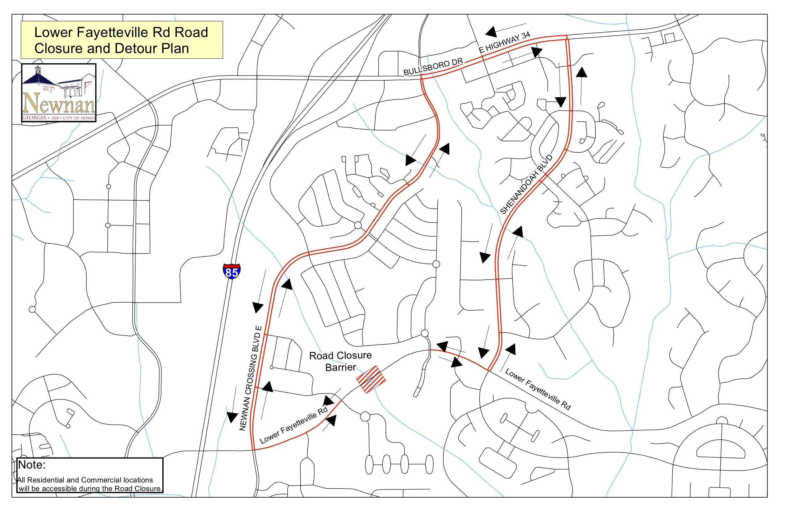 Newnan Georgia Map.City Plans 30 Day Detour On Lower Fayetteville The Newnan Times Herald